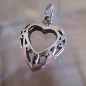 Sterling Silver Charm HEART Open Pierced Work